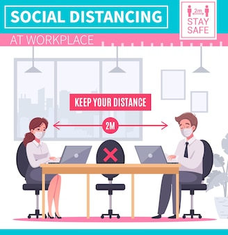 Cartoon illustration with people keeping social distancing at work place in office