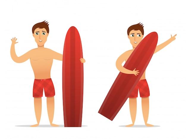 白い背景の上のサーファーキャラクターの漫画イラスト。サーフィンや休暇の概念。