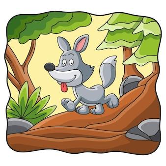 숲에서 걷는 만화 그림 늑대