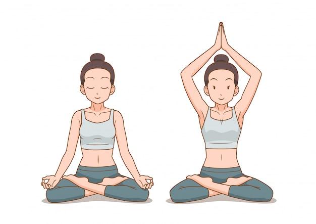 Cartoon illustration of woman do yoga in lotus pose or cross legged sitting meditation pose.