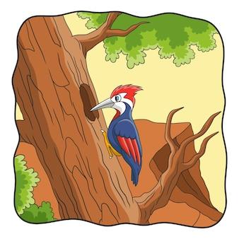 만화 그림 딱따구리가 큰 나무 줄기를 쪼다