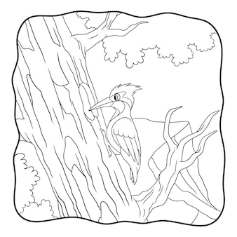Cartoon illustration woodpecker pecks a big tree trunk book or page for kids black and white