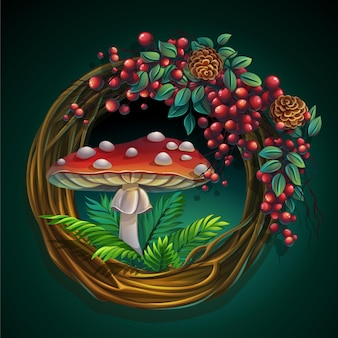 Cartoon illustration wreath of vines and leaves on a green background with ash berry, cedar cones, amanita mushroom