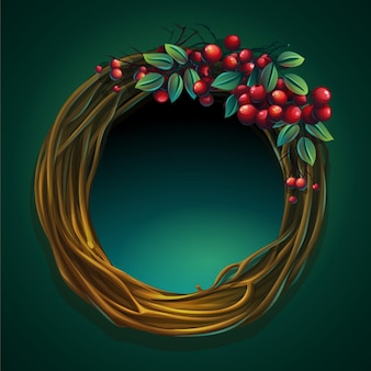 Cartoon illustration wreath of vines and leaves on a green background with ashberry