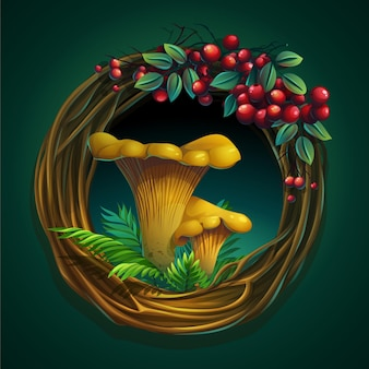 Cartoon illustration wreath of vines and leaves on a green background with mushroom chanterelle