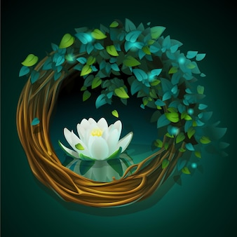 Cartoon illustration wreath of vines and leaves on a green background with nymphaea