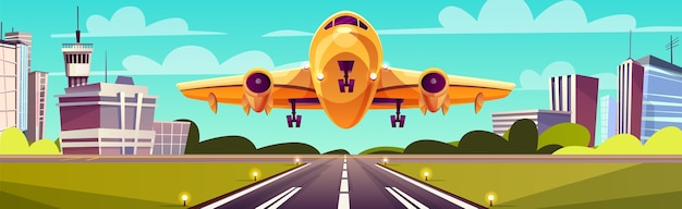 Cartoon illustration, yellow light aircraft on runway. takeoff or landing of airplane