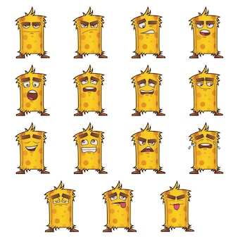 Cartoon illustration of yellow monster set.
