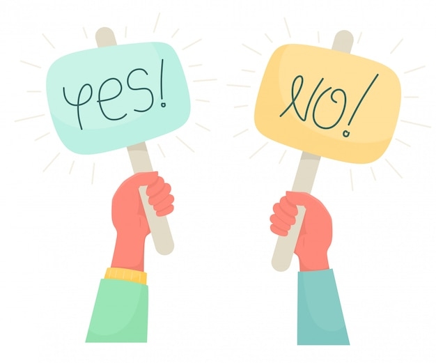 Cartoon illustration of yes no banner in human hand. test question. choice hesitate, dispute, opposition, choice, dilemma, opponent view.