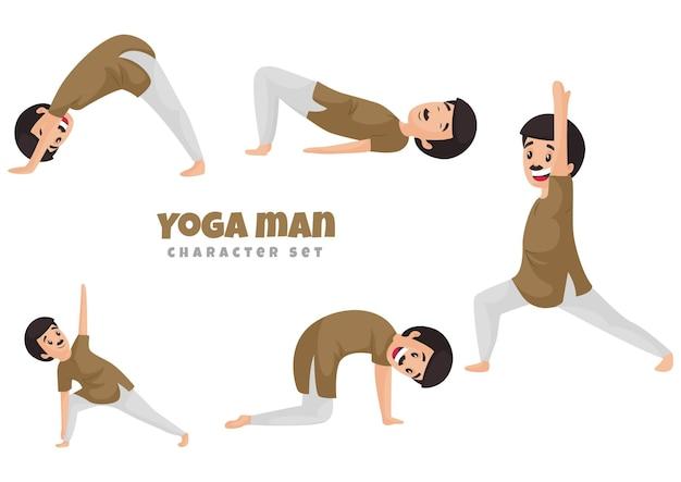 Cartoon illustration of yoga man character set