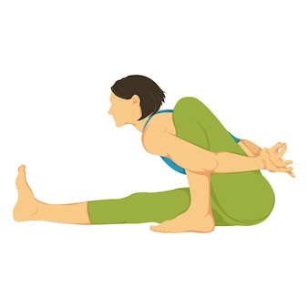 Cartoon illustration of yoga pose