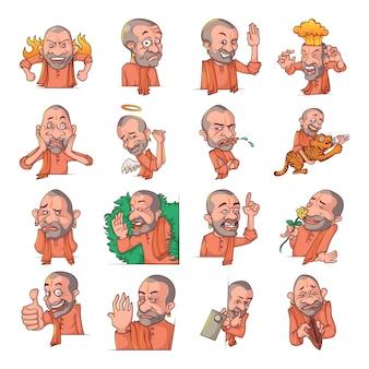 Cartoon illustration of yogi adityanath set