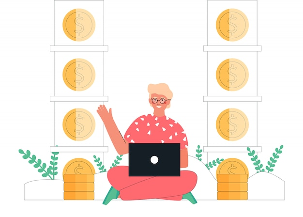 Cartoon  illustration young man sitting with laptop earning money online next to stacks of gold coins. passive income, investment, finance savings, freelance, distant work for banner.