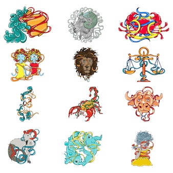 Cartoon illustration of zodiac sign set.
