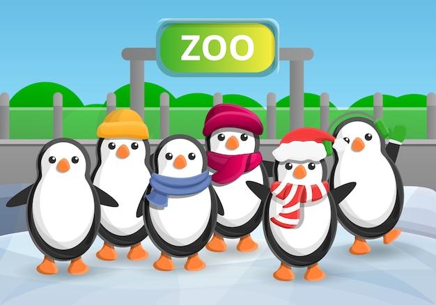 Cartoon illustration of zoo penguin group