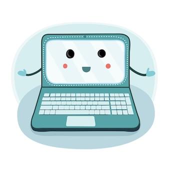 Мультфильм illustrationf ноутбука с руками и ногами