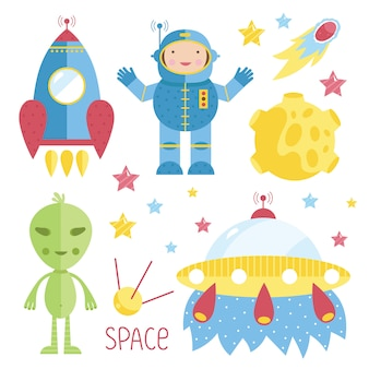 Cartoon illustrations about space