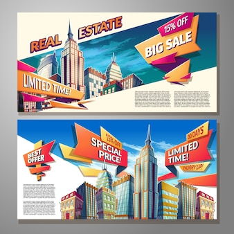 Cartoon illustrations, banners, urban backgrounds with city landscape