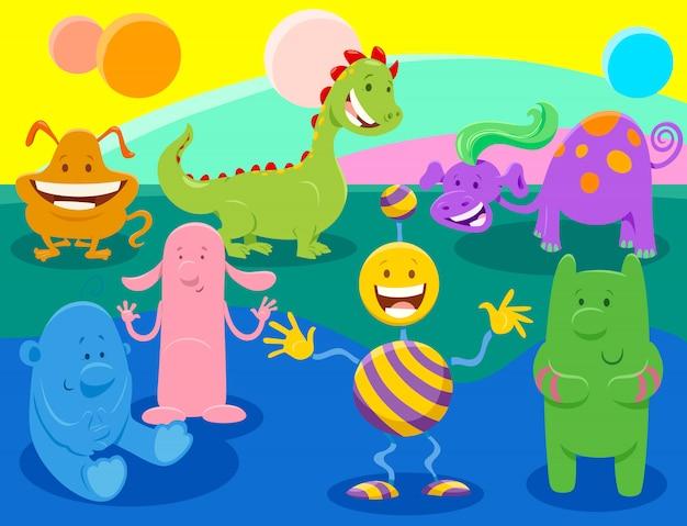 Cartoon illustrations of fantasy monsters or aliens