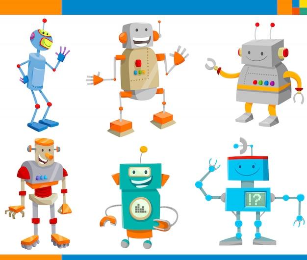 Cartoon illustrations of funny robots characters set