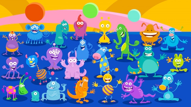 Cartoon illustrations of monsters fantasy background