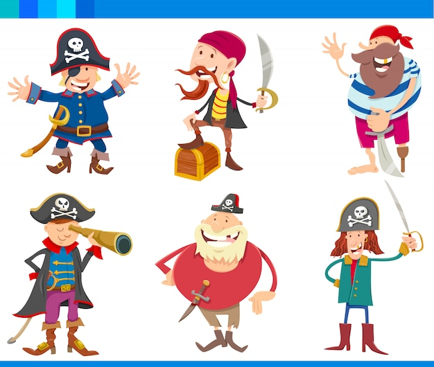 Cartoon illustrations of pirates characters set