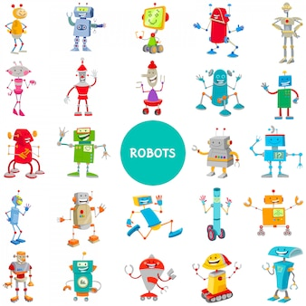 Cartoon illustrations of robot characters large set