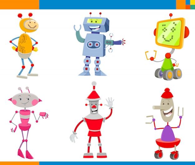 Cartoon illustrations of robots characters set