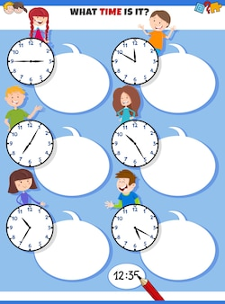 Cartoon illustrations of telling time educational task with clock faces and children characters