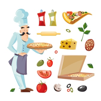 Cartoon illustrations with ingredients of pizza