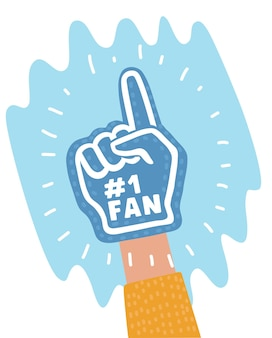 Cartoon illustraton of color fan foam hand with up finger