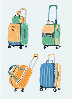 さまざまなバッグセットの漫画illustraton