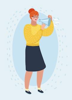 Мультипликационная иллюстрация рыжей женщины в очках, кричащая сердито на громкоговоритель