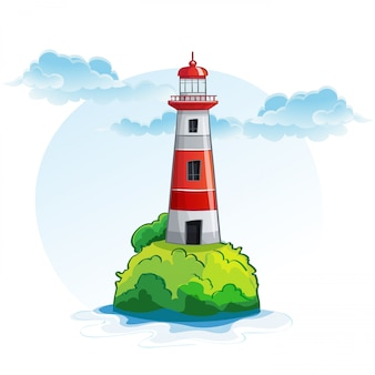 Cartoon image of the island with a lighthouse.