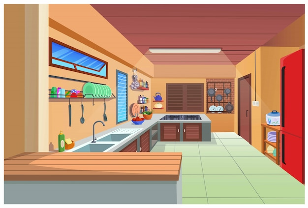 Cartoon image of the kitchen for cooking.