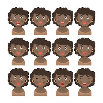다양한 얼굴 감정을 표현하는 갈색 머리를 가진 흑인 여성 세트의 만화 이미지