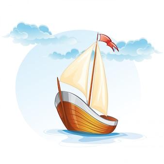 Мультфильм изображение деревянной парусной лодке.