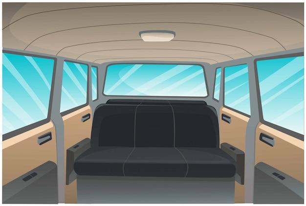 Мультфильм изображение фона интерьера автомобиля.