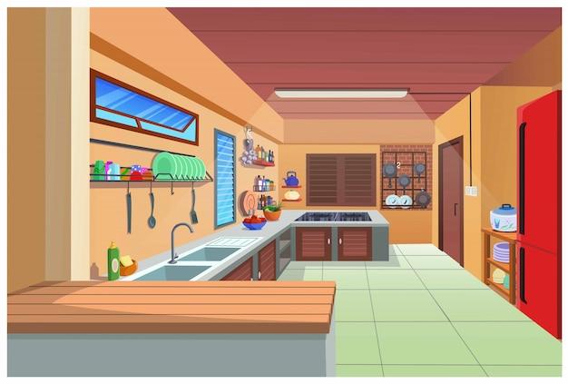 Мультфильм изображение кухни для приготовления пищи.
