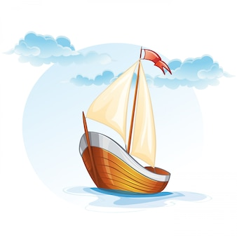 Cartoon image of a wooden sailing boat.