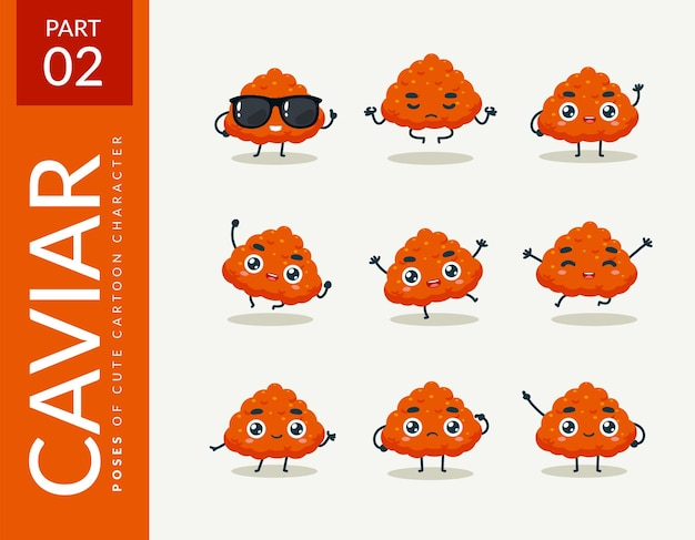 Cartoon images of caviar. set.