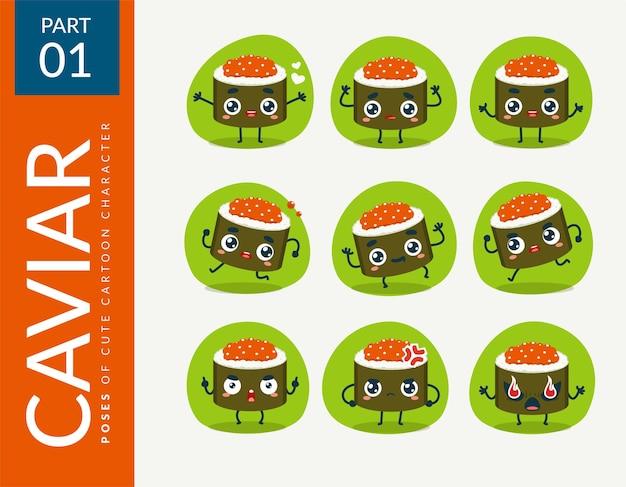Cartoon images of caviar sushi. set.
