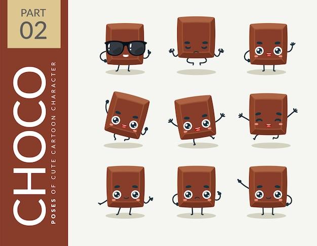 Cartoon images of chocolate. set.
