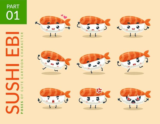 Cartoon images of ebi sushi. set.