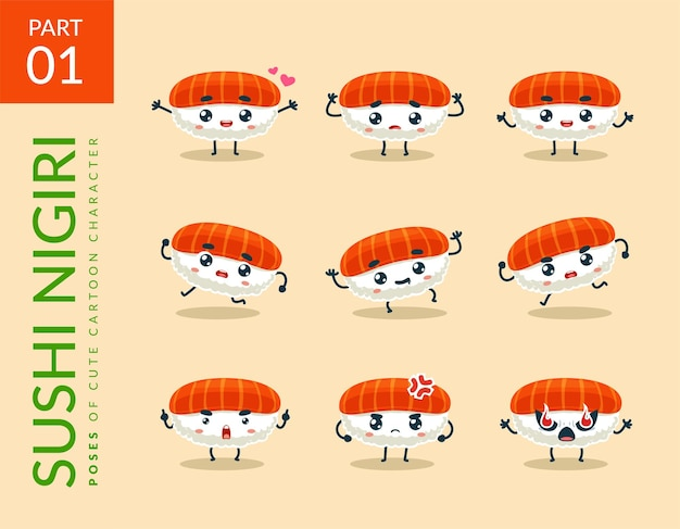 Cartoon images of nigiri sushi. set.