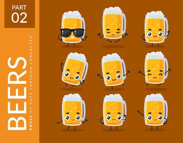 Мультяшные изображения пива. набор.