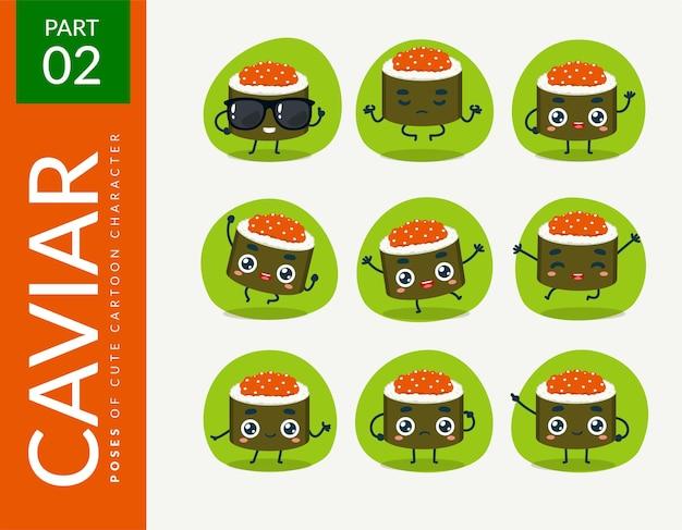 Мультяшные изображения caviar sushi. набор.