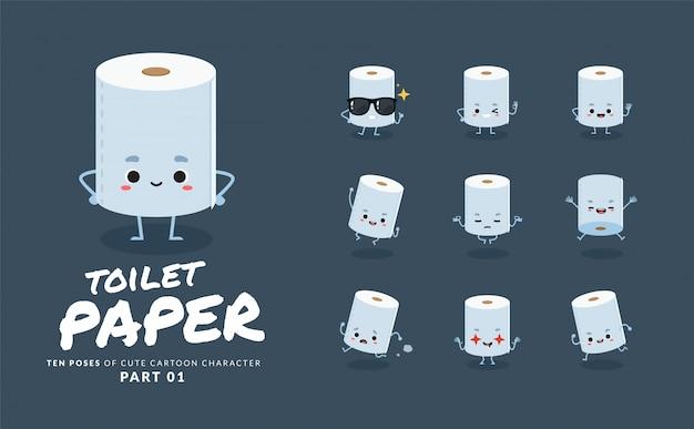 Мультфильм изображения туалетной бумаги. первый сет.