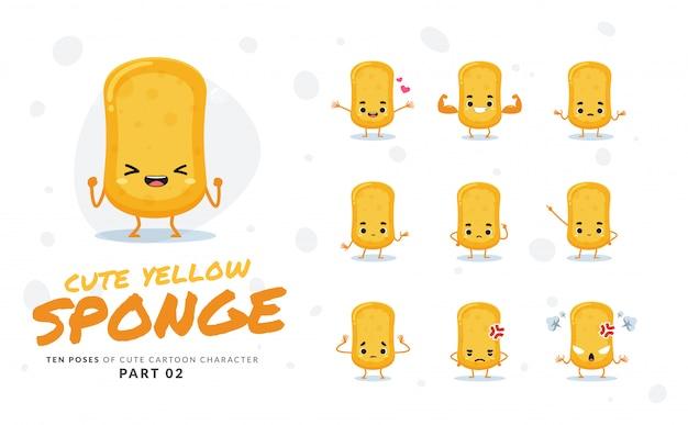 Мультфильм изображения желтой губки. второй сет.