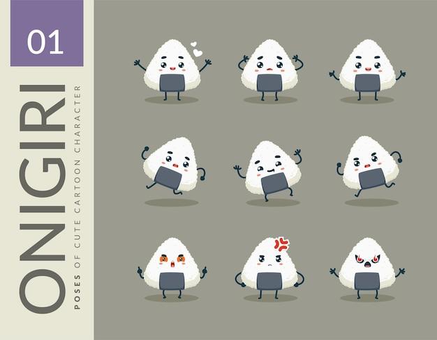 Cartoon images of the onigiri. set.